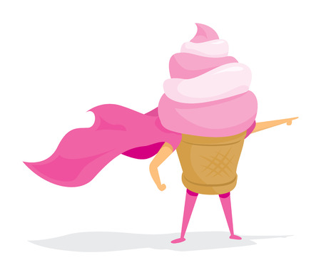 Cartoon illustration of ice cream super hero saving the day Illustration