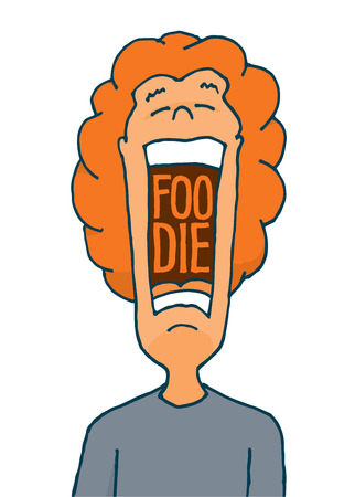 Cartoon illustration of foodie with open mouth