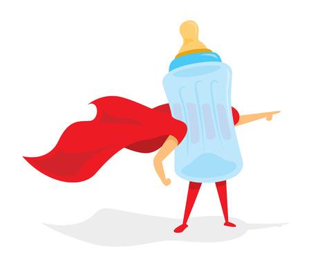 Kreskówki ilustracja dziecko butelka ratuje dzień Ilustracje wektorowe