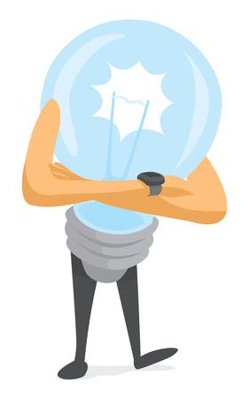 outage: Cartoon illustration of nervous lightbulb waiting for big idea Illustration