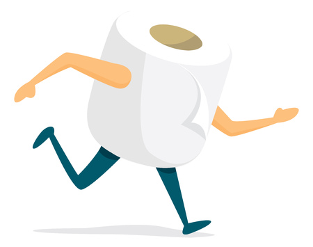 Cartoon illustration of toilet paper urgently running