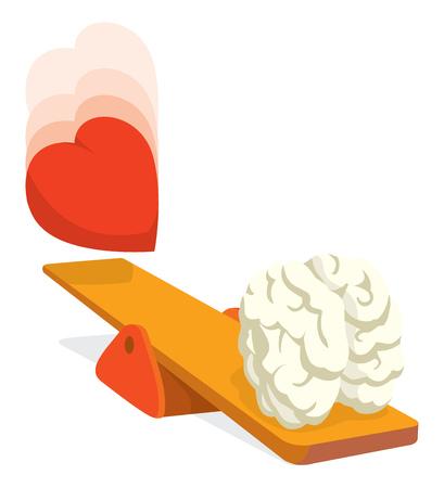 Cartoon illustration of heart falling on trampoline to impulse brain