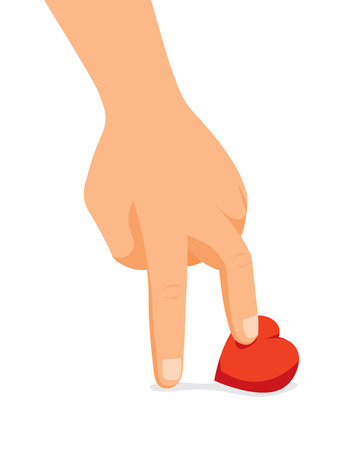 Cartoon illustration of cold hand stepping on heart
