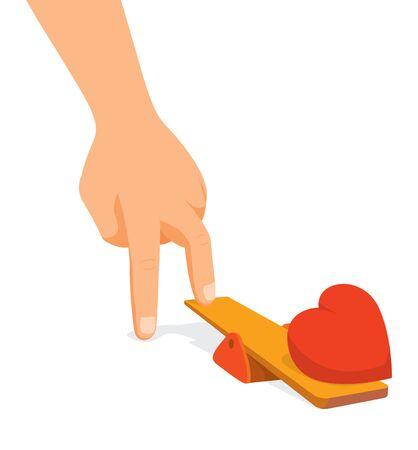 Cartoon illustration of hand impulsing heart on trampoline