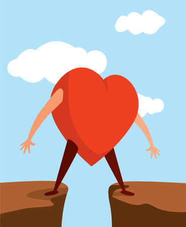 Cartoon illustration of heart divided between two choices Illustration