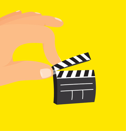 Cartoon illustration of huge hand holding a low budget small clapperboard Illustration