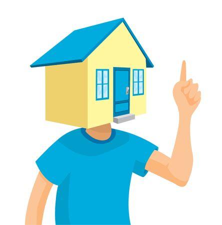 Cartoon illustration of man thinking of buying or renting house Illustration
