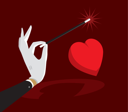 Cartoon illustration of magic wand enchanting heart