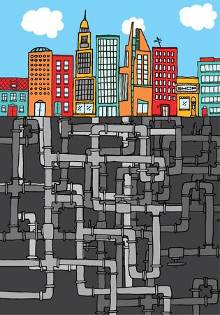 스카이 라인 도시에서 파이프 라인 텍스처의 만화 그림