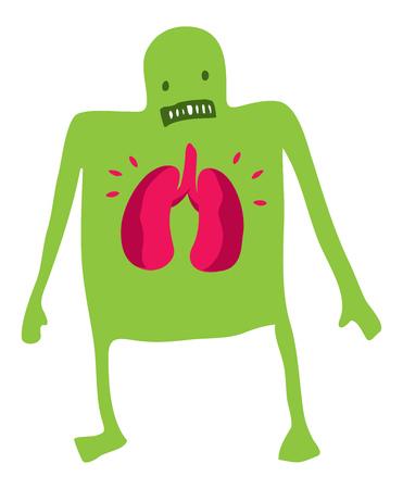 彼の肺を心配して病気の男の漫画イラスト  イラスト・ベクター素材