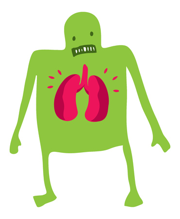 worried man: Cartoon illustration of sick man worried about his lungs