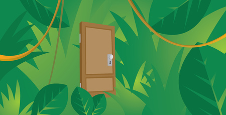 liana: Cartoon illustration of wooden door lost in jungle