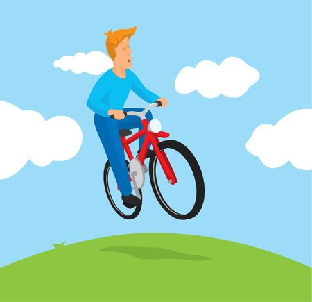 Cartoon illustration of man riding a bike mid air