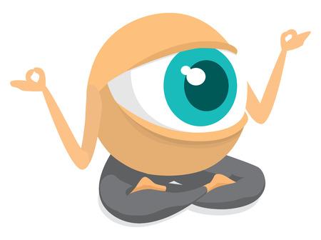 Illustrazione del fumetto di occhio gigante meditare o praticare lo yoga Vettoriali