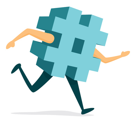 Cartoon illustration of hashtag running or excercising