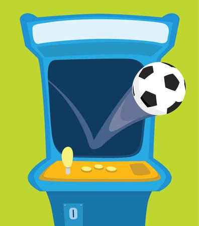 Cartoon illustration of soccer ball bouncing on arcade game Çizim