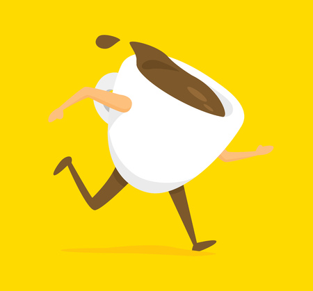 spill: Cartoon illustration of cup of coffee to go running