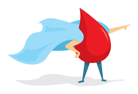 Cartoon illustration of blood drop standing with cape