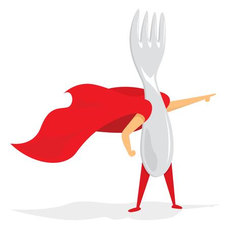 menace: Cartoon illustration of super hero fork saving the day