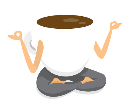 Cartoon illlustration of coffee cup practising yoga in lotus position