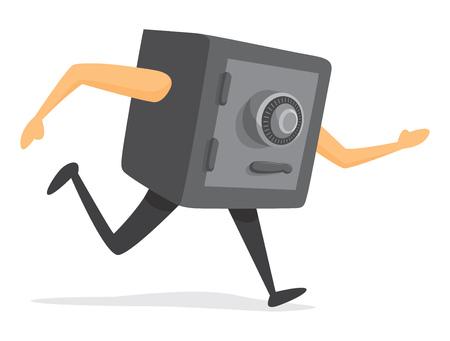 Cartoon illustration of combination safe on the run