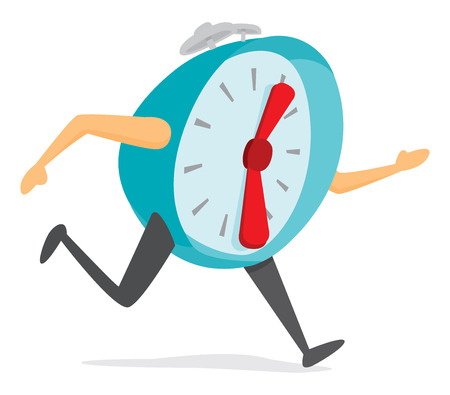 Cartoon illustration of alarm clock ball running late