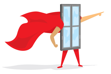 Cartoon illustration of super window hero saving the day