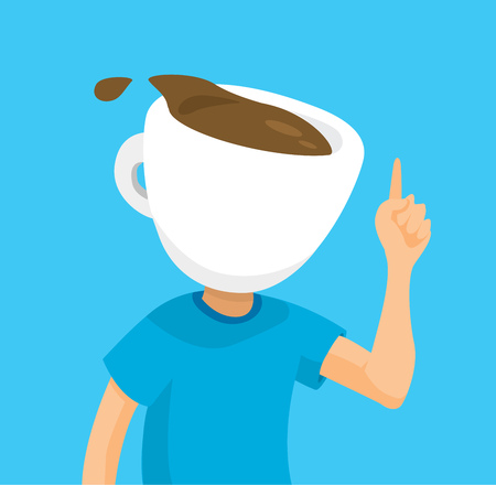 Cartoon illustration of coffee lover spilling his espresso head