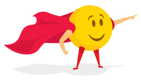 Cartoon illustration of funny smile emoji saving the day