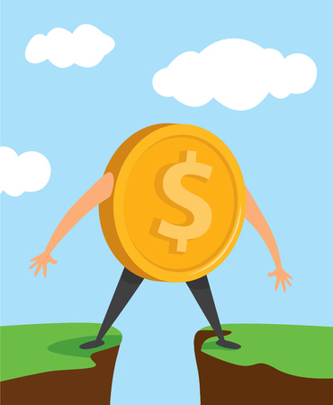 Cartoon illustration of dollar coin stuck in the middle