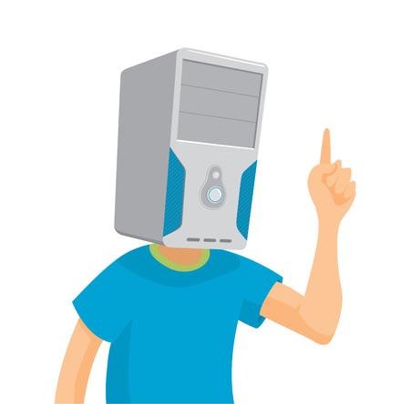 Cartoon illustration of calculating man with pc head