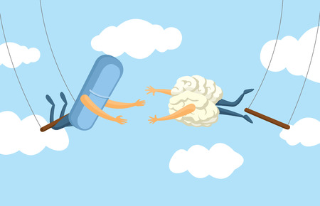 trapeze: Cartoon illustration of teamwork between pill and brain on flying trapeze Illustration