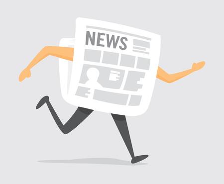 Cartoon illustration of traditional newspaper on the run
