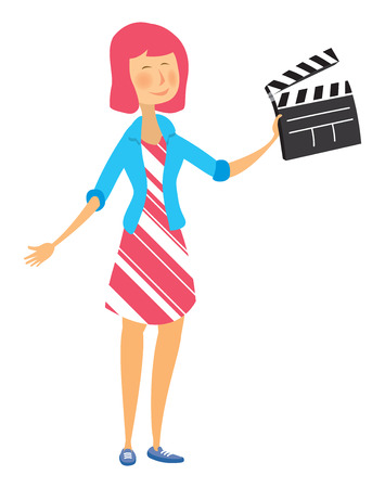 Cartoon illustration of young modern woman holding a clapperboard Illustration