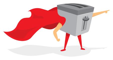 Cartoon illustration of super toaster hero saving the day