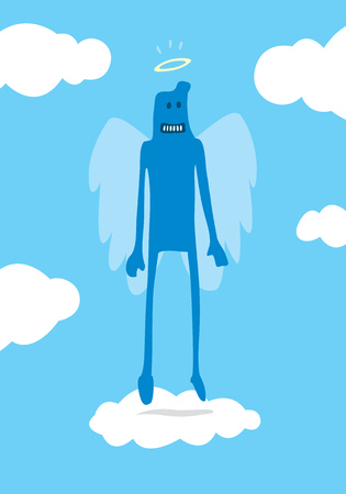 Cartoon illustration of doodle angel floating over clouds