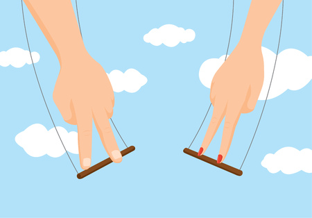 空中ブランコでジャンプしてカップル手の漫画イラスト  イラスト・ベクター素材