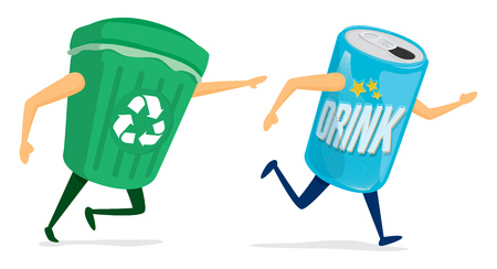 Cartoon illustration between recycling bin and soda can