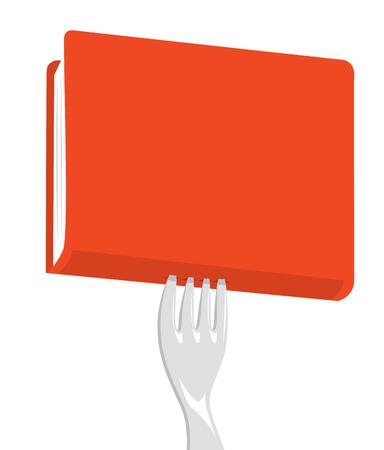 Cartoon illustration of fork stabbing a red book