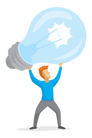 Cartoon illustration of creative man having a great idea