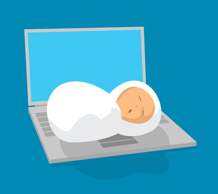Cartoon illustration of newborn baby sleeping on laptop
