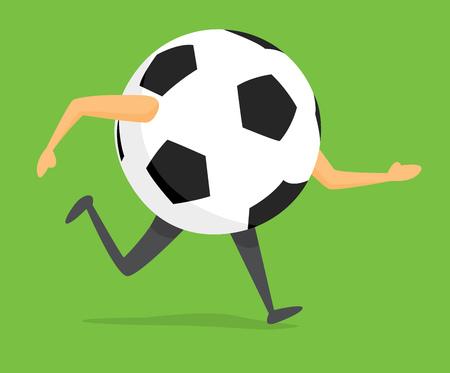 Cartoon illustration of soccer ball on the run Illustration