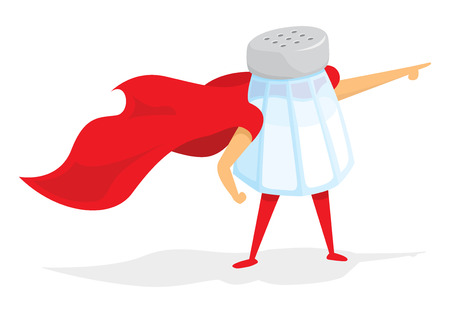 Cartoon illustration of super hero salt saving the day