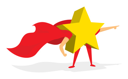 Cartoon illustration of shiny gold star super hero saving the day