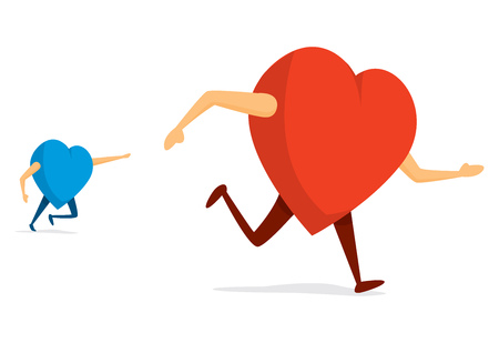 Cartoon illustration of blue heart chasing red heart