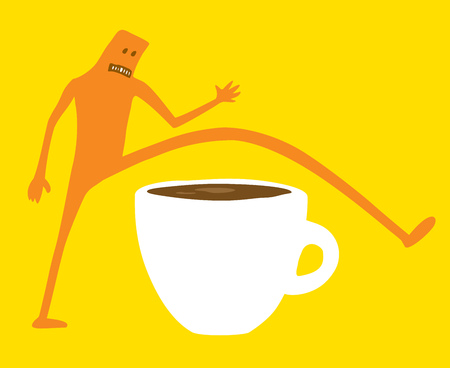 Cartoon illustration of doodle character skipping breakfast or coffee