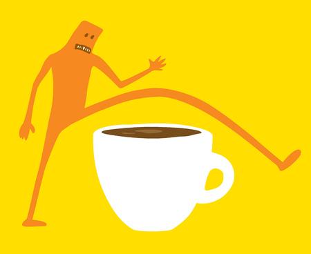 Ilustración de dibujos animados de doodle carácter saltando desayuno o café