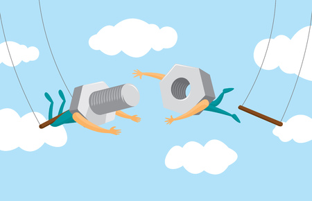 Cartoon illustration of teamwork between nut and screw on flying trapeze Illustration