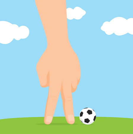 Cartoon illustration of hand playing fantasy soccer Stok Fotoğraf - 81919914