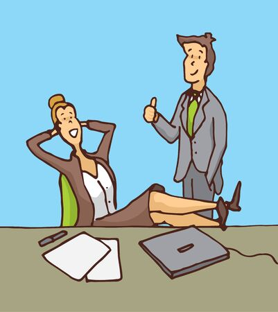 Cartoon illustration of confident businessmen team or couple